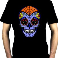 "Blue Sugar Skull Calavera Men's T-Shirt ""Dia De Los Muertos"" Day of the Dead"