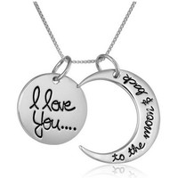 "Sterling Silver ""I Love You To The Moon and Back"" Two-Piece Pendant Necklace, 18"""