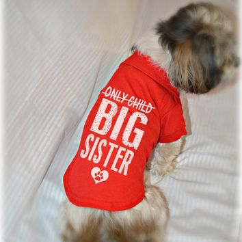 Only Child Big Sister Small Dog Polo Shirt. Pet Clothes. New Baby Gift Idea. Big Siste