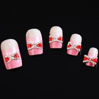 Yesurprise Red Silver Bow Tie 10 pieces Silver 3D Alloy Nail Art Slices Glitters DIY Decorations