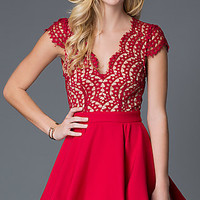 Cap Sleeve Red Holiday Party Dress with Open Back
