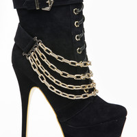Mascotte All Chained Up Lace Up Black Bootie