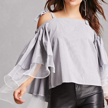 Striped Cape-Sleeve Top