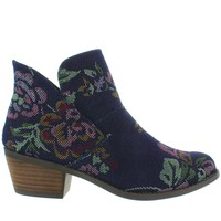 Me Too Zena - Dark Blue Denim Printed Floral Short Pull-On Western Bootie