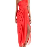 Neon Coral Ruched Mesh One Shoulder Maxi Dress by Charlotte Russe