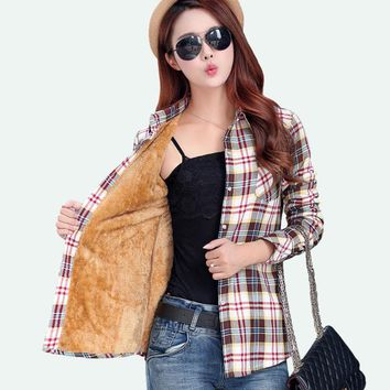NEW Velvet Thick Warm Women's Plaid Shirt Female Long Sleeve Tops Plus Size Winter Check Blouse Blusas Femininas Chemise Femme