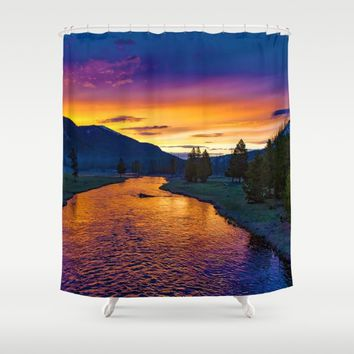 Sundown At Yellowstone Shower Curtain by Gallery One