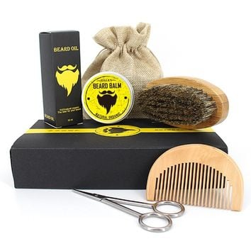 BellyLady: Men's Beard Grooming & Trimming Kit With Beard Oil, Brush, Comb, Beard Balm and Scissors