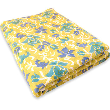 Indian Hand Printed Cotton Fabric Blue Floral Design Fabric By The Yard Yellow dye Pure Cotton Fabric Multi Purpose For Making Shirt/Dress
