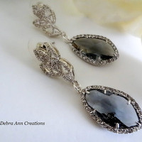 Grey Crystal Earrings Grey Wedding Gray Bridal Bridesmaid Jewelry Charcoal Gray Earring Black Diamond Jewelry Mother of the Bride Groom Gift
