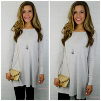 Time Well Wasted Athletic Heather Long Sleeve Dress