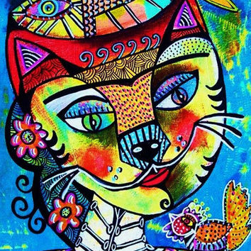Day of The Dead Frida Cat  SILBERZWEIG by SandraSilberzweigArt