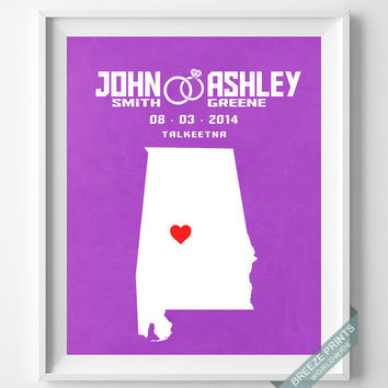 Personalized, Print, Alabama, Wedding, Montgomery, Anniversary, Customized, Family, State, Groom, Bride, Wall Art, Marriage, Love [NO 51]