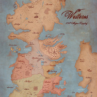 Game of Thrones- Map of Westeros- 13x19 inch Giclee Illustration/ Art Poster