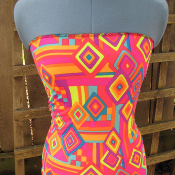 Geometric Neon Tribal Tube Top/ Funky Retro Hippy Bandeau Shirt/ Summer Festival Tops Gear Beach Upcycled XS/S
