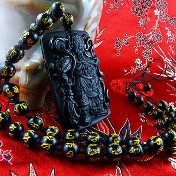 Guan Yu Pendant, Obsidian Pendant, Gold Necklace, Black Necklace, God of War, Beaded Necklace, Sanskrit Necklace, Warrior, Yakuza, Men's