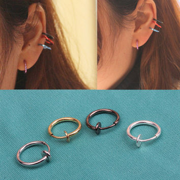 Hot Sale 1 Pcs Fashion Punk Clip On Fake Piercing Nose Lip Hoop Rings Earrings 4 Colors Drop Shipping EAR-0139