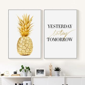 Elegant Poetry Gold Pineapple English Phrases Simple Canvas Painting Art Print Poster Picture Wall Painting Home Wall Decoration