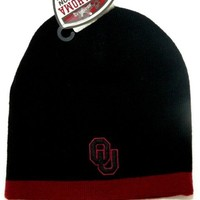 Ncaa Black Oklahoma Sooners Logo on Back & Front One Size Fits Most Cuff-less Beanie