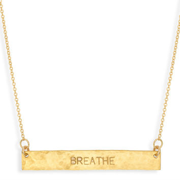 Gold Bar Necklace - BREATHE