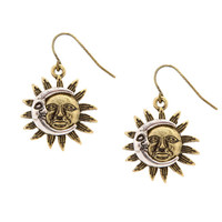 Burnished Gold and Silver Sun and Moon Drop Earrings