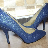 Vintage 80s AMAZING Blue Glitter Sparkle High Heel Pumps Stiletto 7 7.5 Shoes