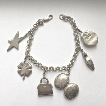 Sterling Silver Charm Bracelet-6 Sterling Charms, 33 grams, Rolo Link Bracelet, Purse, High Heel, Locket, Star, Shamrock Charms, Mothers Day