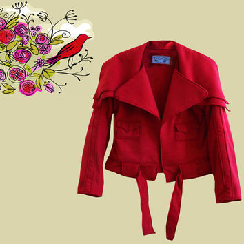 Women jacket red cape collar crop by tratgirl