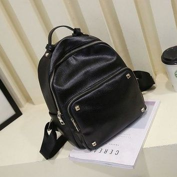 University College Backpack Nice Summer New Female Bag Quality Pu Leather Women Bag Korean Style Sweet  Students Black  Lovely Girl Rivet BagAT_63_4