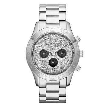 New Michael Kors MK5977 Women's Layton Pave Dial Chronograph Crystals 40mm Watch