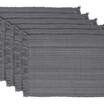 DII 100% Cotton, Tonal Fringe, Variegated, Machine Washable, Everyday Kitchen Basic Placemat, Set of 6, Gray
