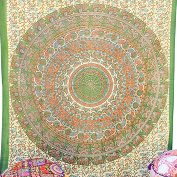 Hand printed Mandala Tapestries Wall Hanging or Bedsheet