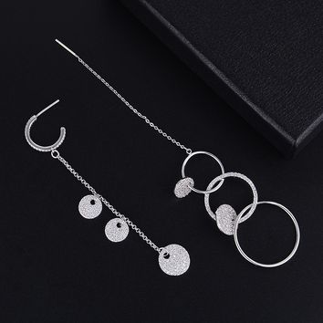 GODKI Mismatch Long Round Circle Cubic Zirconia American Wedding Party Earring Fashion Jewelry for Women