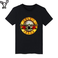 BTS Guns N Roses Rock Band Short Sleeve T-shirt Men Hip Hop TShirts with Punk Music Funny T Shirts MenWhite Tee Shirt
