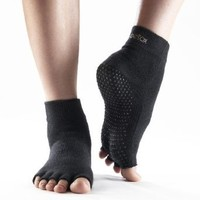 ToeSox Half Toe Yoga/Pilates Toe Socks With Grips, Black, Xlarge
