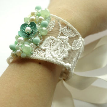 White lace Wedding cuff bracelet. Elegant Wedding Jewelry. Lace Mint pearls rose bangle bracelet. Lace jewelry for Bride and  Bridesmades
