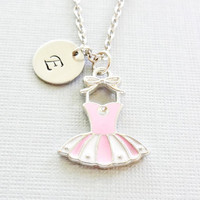 Ballet Necklace, Tutu Enamel Charm, Ballerina Necklace, Girl Necklace, Silver Jewelry, Personalized, Monogram, Hand Stamped Letter Initial