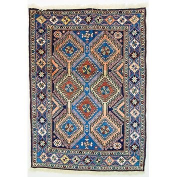 Oriental Yalamah Irannian Pure Wool Tribal Rug, Blue/Orange
