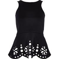 River Island Womens Black laser cut peplum top