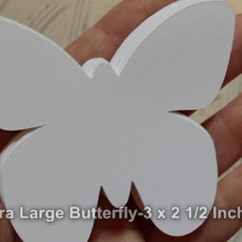 "24 Extra Large White Butterfly Die Cut, Paper Butterfly Punch, Butterfly Party, Butterfly Shower, DIY Wedding Place Card (3 x 2 1/2"")"