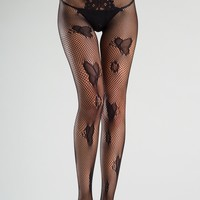 Crotchless Fishnet Butterfly Design Tights