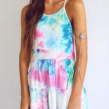 White Draped Spaghetti Straps Backless Tie Dye Round Neck Sleeveless Mini Dress