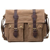 Men's Canvas Leather DSLR SLR Vintage Camera Messenger Bag