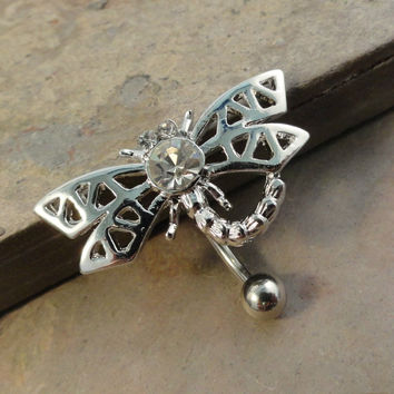 Dragonfly Belly Button Jewelry Reverse Top Down