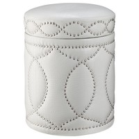 Three Hands White Storage Ottoman with Nail Head Detail