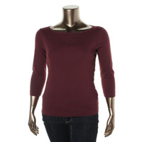 Three Dots Womens 3/4 Sleeves Boatneck Knit Top