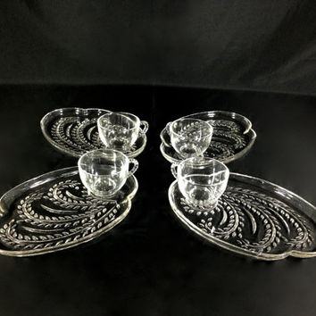 Vintage 50's Crystal Glass Snack Set by Federal Glass 4 Teacups 4 Trays Original Box Carved Wheat Hospitality Design Elegant Tea Time Divine