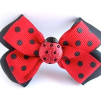 Black and Red Lady Bug Hair Bow