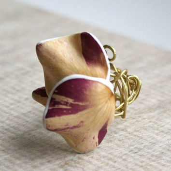 Unique Real Natural Flower Ring  - Botanist In Love Handmade Jewelry
