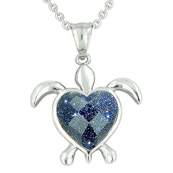 Turtle Heart Powers Amulet Blue Goldstone Faceted Magic Energies Pendant 22 Inch Necklace